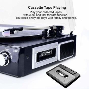 DIGITNOW! Plattenspieler Schallplattenspieler mit Stereo Lautsprechern ,Stützen Bluetooth | Kassette |AM / FM Radio| Vinyl to MP3 USB-Codierung | 33/45/78 U/min | Aux in - 5