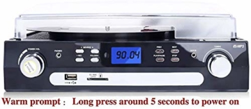 DIGITNOW! Plattenspieler Schallplattenspieler mit Stereo Lautsprechern ,Stützen Bluetooth | Kassette |AM / FM Radio| Vinyl to MP3 USB-Codierung | 33/45/78 U/min | Aux in - 6