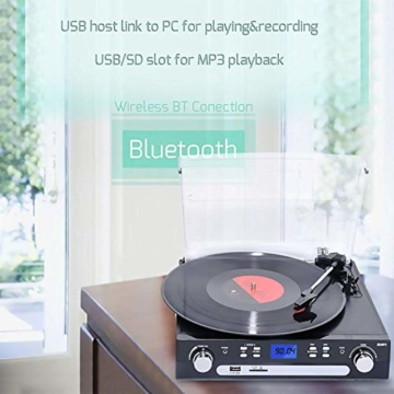 DIGITNOW! Plattenspieler Schallplattenspieler mit Stereo Lautsprechern ,Stützen Bluetooth | Kassette |AM / FM Radio| Vinyl to MP3 USB-Codierung | 33/45/78 U/min | Aux in - 7