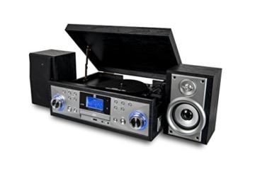 Dual NR 110 Kompaktanlage mit Schallplattenspieler (CD-Player, MP3, PLL-UKW-Radio, Riemenantrieb, 20 Senderspeicherplätze, Direct-Encoding, 3,5 mmm) schwarz - 3