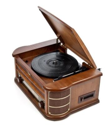 Dual NR 4 Nostalgie Musikanlage mit Plattenspieler (UKW-Tuner, MW-Radio, CD-RW, MP3, USB, Kassette, Aux-In) braun - 9