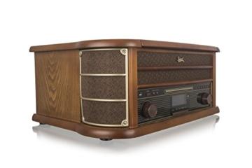 Dual NR 50 DAB Stereo-Nostalgie-Komplettanlage mit Plattenspieler (UKW/DAB(+) Radio, CD (MP3), USB, Kassettenabspieler, AUX-In, Direct-Encoding-Funktion, Fernbedienung) Braun - 4