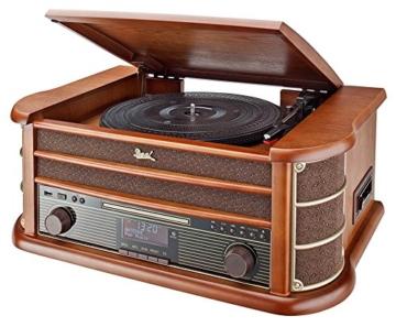 Dual NR 50 DAB Stereo-Nostalgie-Komplettanlage mit Plattenspieler (UKW/DAB(+) Radio, CD (MP3), USB, Kassettenabspieler, AUX-In, Direct-Encoding-Funktion, Fernbedienung) Braun - 1
