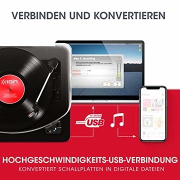 ION Audio Air LP -  USB Plattenspieler Bluetooth / Schallplattenspieler / Vinyl Player mit drei Geschwindigkeitsstufen und USB Konvertierung in edlem schwarzen Klavierlack - 5