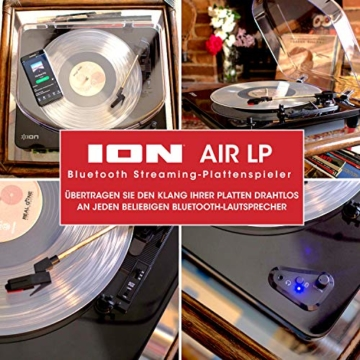 ION Audio Air LP -  USB Plattenspieler Bluetooth / Schallplattenspieler / Vinyl Player mit drei Geschwindigkeitsstufen und USB Konvertierung in edlem schwarzen Klavierlack - 6