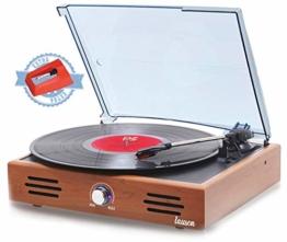 LAUSON JTF035 Retro Plattenspieler mit Lautsprecher, USB Aufnahmefunktion, Record Player, Schallplattenspieler Vinyl, Digital Encoder, 33/45/78 U/min, AUX IN, Integrierte Lautsprecher, Holz - 1