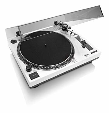 Lenco L-3808 USB DJ-Plattenspieler mit Direktantrieb - 33/45 U/min - Pitch-Control - Magnet-Tonabnehmer-System - Nadelbeleuchtung - Digitalisierung via PC - Staubschutzhaube - weiß - 2
