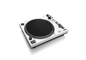 Lenco L-3808 USB DJ-Plattenspieler mit Direktantrieb - 33/45 U/min - Pitch-Control - Magnet-Tonabnehmer-System - Nadelbeleuchtung - Digitalisierung via PC - Staubschutzhaube - weiß - 3