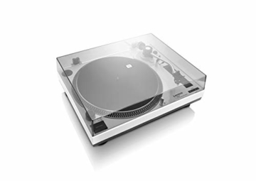 Lenco L-3808 USB DJ-Plattenspieler mit Direktantrieb - 33/45 U/min - Pitch-Control - Magnet-Tonabnehmer-System - Nadelbeleuchtung - Digitalisierung via PC - Staubschutzhaube - weiß - 4