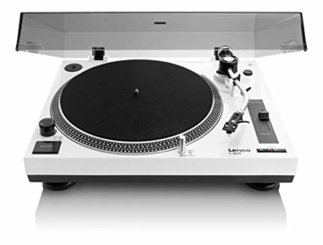 Lenco L-3808 USB DJ-Plattenspieler mit Direktantrieb - 33/45 U/min - Pitch-Control - Magnet-Tonabnehmer-System - Nadelbeleuchtung - Digitalisierung via PC - Staubschutzhaube - weiß - 1
