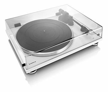 Lenco L-87WH Aluminium Slimline Plattenspieler - MP3 Konvertierung - Weiss - 5