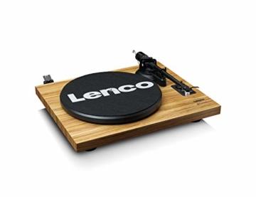 Lenco LS-500 - Hi-Fi Plattenspieler mit Bluetooth - Mit externen Lautsprechern 2 x 30 W RMS - Riemenantrieb - Auto-Stopp - Vorverstärker - MDF-Gehäuse - Eiche - 3