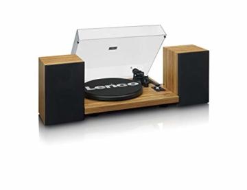 Lenco LS-500 - Hi-Fi Plattenspieler mit Bluetooth - Mit externen Lautsprechern 2 x 30 W RMS - Riemenantrieb - Auto-Stopp - Vorverstärker - MDF-Gehäuse - Eiche - 6