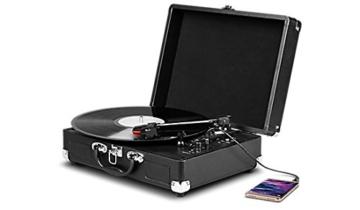 MEDION E64065 Schallplattenspieler, Retro Koffer Plattenspieler mit USB Digital Encoder, Drehgeschwindigkeiten von 33/45 / 78 U/Min, internem Lautsprecher, schwarz - 2