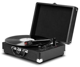 MEDION E64065 Schallplattenspieler, Retro Koffer Plattenspieler mit USB Digital Encoder, Drehgeschwindigkeiten von 33/45 / 78 U/Min, internem Lautsprecher, schwarz - 1