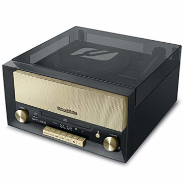 Muse MT-110 B Retro Stereo-Anlage mit Plattenspieler, Bluetooth, CD-Player und Radio mit USB für Wiedergabe und Aufnahme, schwarz - 2
