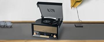 Muse MT-110 B Retro Stereo-Anlage mit Plattenspieler, Bluetooth, CD-Player und Radio mit USB für Wiedergabe und Aufnahme, schwarz - 3