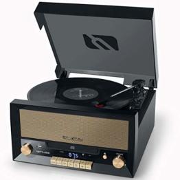 Muse MT-110 B Retro Stereo-Anlage mit Plattenspieler, Bluetooth, CD-Player und Radio mit USB für Wiedergabe und Aufnahme, schwarz - 1