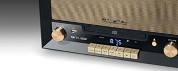 Muse MT-110 B Retro Stereo-Anlage mit Plattenspieler, Bluetooth, CD-Player und Radio mit USB für Wiedergabe und Aufnahme, schwarz - 5