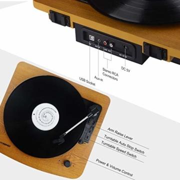 MUSITREND Plattenspieler Schallplattenspieler mit Stereo Lautsprechern, Vinyl-to-MP3 Funktion, 33/45/78 U/min - Naturholz - 3