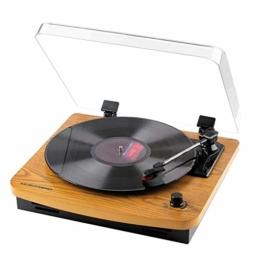 MUSITREND Plattenspieler Schallplattenspieler mit Stereo Lautsprechern, Vinyl-to-MP3 Funktion, 33/45/78 U/min - Naturholz - 1
