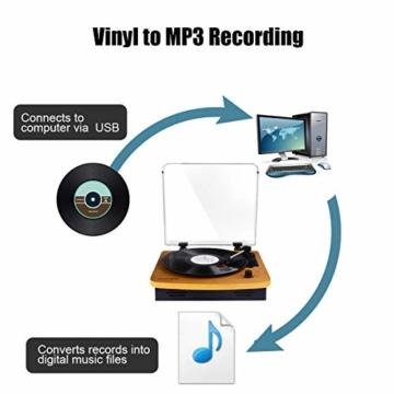 MUSITREND Plattenspieler Schallplattenspieler mit Stereo Lautsprechern, Vinyl-to-MP3 Funktion, 33/45/78 U/min - Naturholz - 4