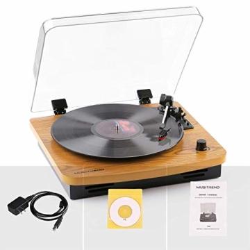 MUSITREND Plattenspieler Schallplattenspieler mit Stereo Lautsprechern, Vinyl-to-MP3 Funktion, 33/45/78 U/min - Naturholz - 5