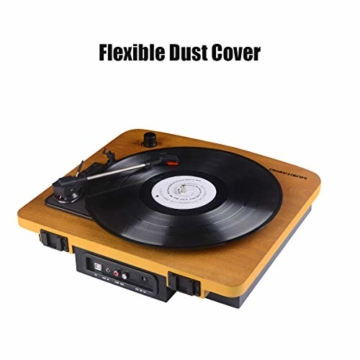 MUSITREND Plattenspieler Schallplattenspieler mit Stereo Lautsprechern, Vinyl-to-MP3 Funktion, 33/45/78 U/min - Naturholz - 6