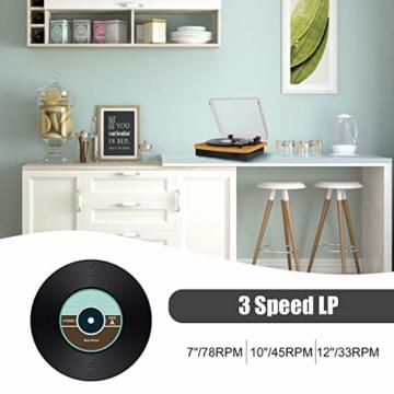 MUSITREND Plattenspieler Schallplattenspieler mit Stereo Lautsprechern, Vinyl-to-MP3 Funktion, 33/45/78 U/min - Naturholz - 7
