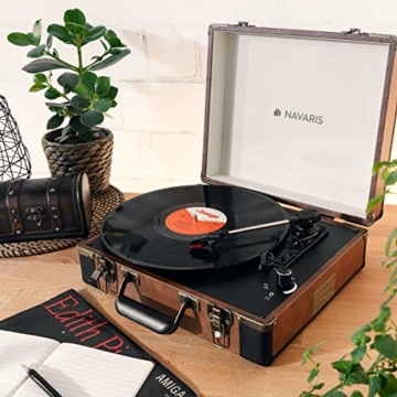 Navaris Retro Koffer Plattenspieler mit Lautsprecher - USB Port zum Digitalisieren - 35,5x11,5x27,5cm - Vintage Schallplatten Spieler Braun-Schwarz - 2