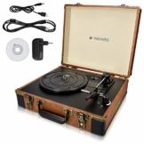Navaris Retro Koffer Plattenspieler mit Lautsprecher - USB Port zum Digitalisieren - 35,5x11,5x27,5cm - Vintage Schallplatten Spieler Braun-Schwarz - 1