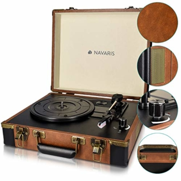 Navaris Retro Koffer Plattenspieler mit Lautsprecher - USB Port zum Digitalisieren - 35,5x11,5x27,5cm - Vintage Schallplatten Spieler Braun-Schwarz - 3
