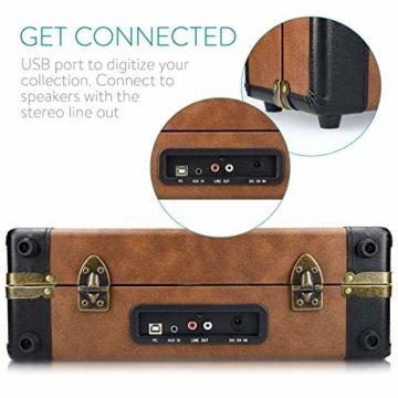 Navaris Retro Koffer Plattenspieler mit Lautsprecher - USB Port zum Digitalisieren - 35,5x11,5x27,5cm - Vintage Schallplatten Spieler Braun-Schwarz - 4