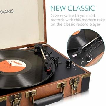 Navaris Retro Koffer Plattenspieler mit Lautsprecher - USB Port zum Digitalisieren - 35,5x11,5x27,5cm - Vintage Schallplatten Spieler Braun-Schwarz - 5