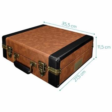 Navaris Retro Koffer Plattenspieler mit Lautsprecher - USB Port zum Digitalisieren - 35,5x11,5x27,5cm - Vintage Schallplatten Spieler Braun-Schwarz - 6