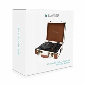 Navaris Retro Koffer Plattenspieler mit Lautsprecher - USB Port zum Digitalisieren - 35,5x11,5x27,5cm - Vintage Schallplatten Spieler Braun-Schwarz - 7