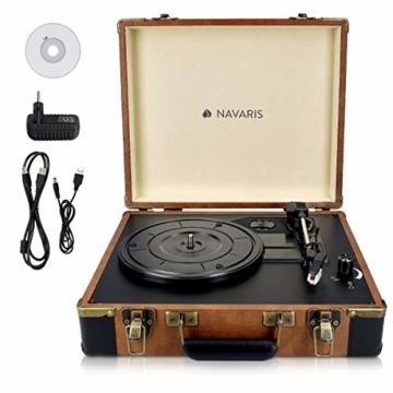 Navaris Retro Koffer Plattenspieler mit Lautsprecher - USB Port zum Digitalisieren - 35,5x11,5x27,5cm - Vintage Schallplatten Spieler Braun-Schwarz - 8
