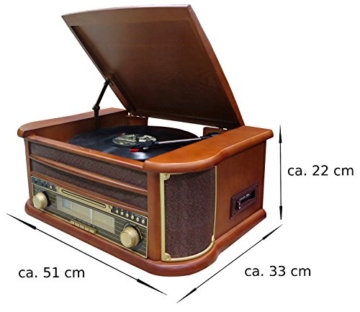 Nostalgie Holz Musikanlage | Kompaktanlage | Retro Stereoanlage | Plattenspieler | Radio | CD MP3 Player USB | Fernbedienung | MP3-Encoding: Aufnahmefunktion AUX IN | Lautsprecher | hochwertiges Holz - 4