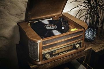 Nostalgie Holz Musikanlage | Kompaktanlage | Retro Stereoanlage | Plattenspieler | Radio | CD MP3 Player USB | Fernbedienung | MP3-Encoding: Aufnahmefunktion AUX IN | Lautsprecher | hochwertiges Holz - 5