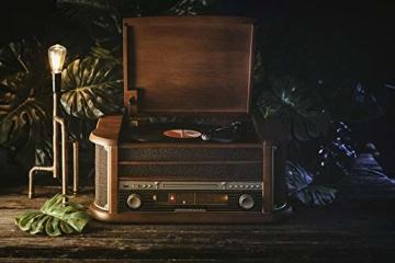 Nostalgie Holz Musikanlage | Kompaktanlage | Retro Stereoanlage | Plattenspieler | Radio | CD MP3 Player USB | Fernbedienung | MP3-Encoding: Aufnahmefunktion AUX IN | Lautsprecher | hochwertiges Holz - 6