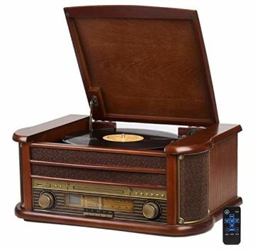 Nostalgie Holz Musikanlage | Kompaktanlage | Retro Stereoanlage | Plattenspieler | Radio | CD MP3 Player USB | Fernbedienung | MP3-Encoding: Aufnahmefunktion AUX IN | Lautsprecher | hochwertiges Holz - 1