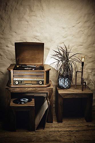 Nostalgie Holz Musikanlage | Kompaktanlage | Retro Stereoanlage | Plattenspieler | Radio | CD MP3 Player USB | Fernbedienung | MP3-Encoding: Aufnahmefunktion AUX IN | Lautsprecher | hochwertiges Holz - 2