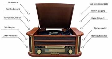 Nostalgie Holz Musikanlage | Kompaktanlage | Retro Stereoanlage | Plattenspieler | Radio | CD MP3 Player USB | Fernbedienung | MP3-Encoding: Aufnahmefunktion AUX IN | Lautsprecher | hochwertiges Holz - 3