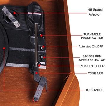 Plattenspieler 7-in-1 Vinyl Turntable de dl Record Player Vintage Holz mit Bluetooth, UKW-Radio, Integrierte Stereo-Lautsprecher, CD/MP3/Cassette Spielen,/USB Play & Encoding (DL-189BD-99) - 3