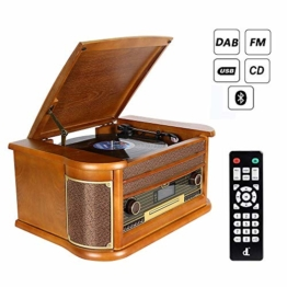 Plattenspieler 7-in-1 Vinyl Turntable de dl Record Player Vintage Holz mit Bluetooth, UKW-Radio, Integrierte Stereo-Lautsprecher, CD/MP3/Cassette Spielen,/USB Play & Encoding (DL-189BD-99) - 1