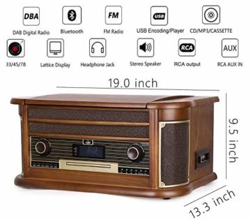 Plattenspieler 7-in-1 Vinyl Turntable de dl Record Player Vintage Holz mit Bluetooth, UKW-Radio, Integrierte Stereo-Lautsprecher, CD/MP3/Cassette Spielen,/USB Play & Encoding (DL-189BD-99) - 4
