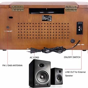 Plattenspieler 7-in-1 Vinyl Turntable de dl Record Player Vintage Holz mit Bluetooth, UKW-Radio, Integrierte Stereo-Lautsprecher, CD/MP3/Cassette Spielen,/USB Play & Encoding (DL-189BD-99) - 5