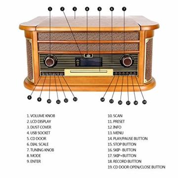 Plattenspieler 7-in-1 Vinyl Turntable de dl Record Player Vintage Holz mit Bluetooth, UKW-Radio, Integrierte Stereo-Lautsprecher, CD/MP3/Cassette Spielen,/USB Play & Encoding (DL-189BD-99) - 6