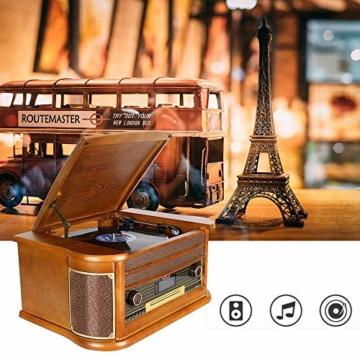 Plattenspieler 7-in-1 Vinyl Turntable de dl Record Player Vintage Holz mit Bluetooth, UKW-Radio, Integrierte Stereo-Lautsprecher, CD/MP3/Cassette Spielen,/USB Play & Encoding (DL-189BD-99) - 7