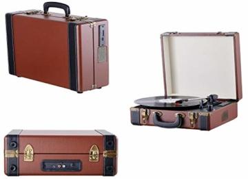 Plattenspieler Koffer | Schallplattenspieler | Turntable | Nostalgie Retro Plattenspieler im Koffer | Vinyl Player | Kofferplattenspieler | AUX IN | integrierte Lautsprecher | - 2